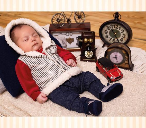 Macacão Longo De Bebê Com Colete Removível, Pronta Entrega
