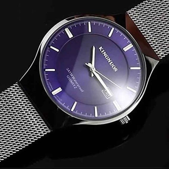 Relógio Kingnuos Azul Ultra Fino Pulseira De Aço Inoxidável