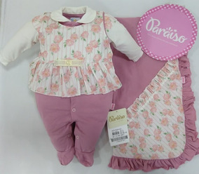 Saida Maternidade Paraiso Bebê Menina Macacão Rose Dig 9631