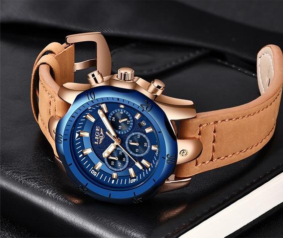 Relógio Lige Azul E Dourado Original