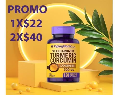 Imagen 1 de 5 de Turmeric Cúrcuma 500 Mg + Pimienta Negra 3mg 120 Capsulas