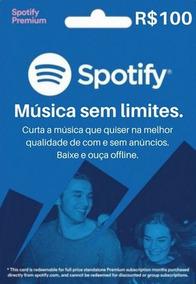 Cartão Spotify R$ 100 Reais - Assinatura Individual Imediato