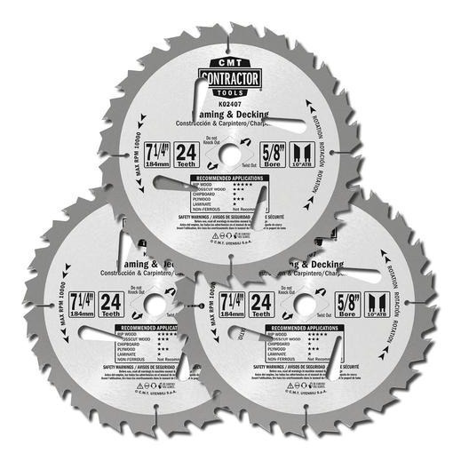 Discos Sierra Circular 7 1/4 X 24 Dientes 3 Pack K02407