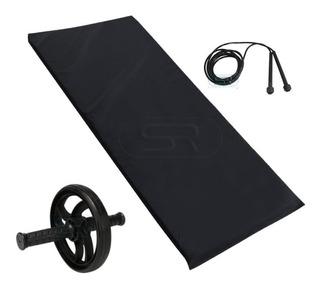 Colchonete Academia Fitness + Roda Abdominal + Corda Pular