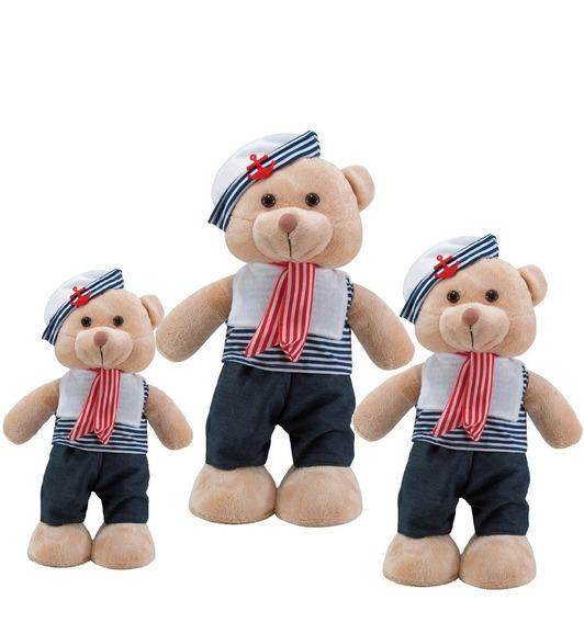 Trio De Urso Marinheiro Em Pé Pelúcia Bege