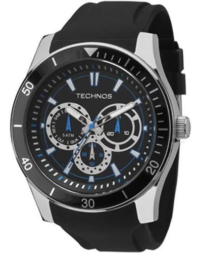 Relógio Technos Masculino Esporte Pulseira De Silicone Preto Detalhes Azul 6p29aiq/8p Original