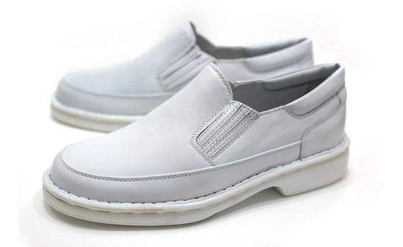 Sapato Médico Branco Couro Alcalay Relax Ortopedico 709