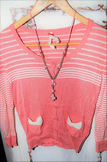 Saquito En Rayas Y Lunares En Color Rosa