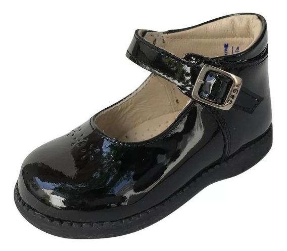 Zapato Bota Dogi E-0757 Niña Negro Charol Piel
