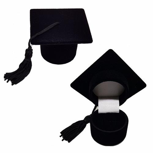 36 Caixas De Veludo Modelo Chapéu De Formatura Para Anel