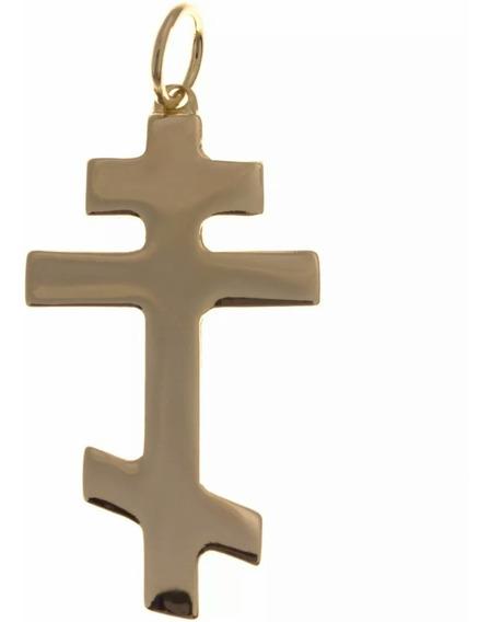 Pingente Cruz Ortodoxa Em Ouro 18k + Certificado