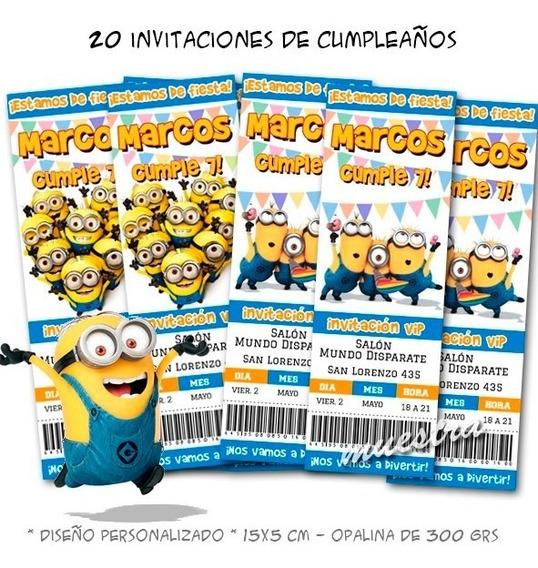 Invitaciones Cumpleaños Minions Souvenirs Cotillón Y