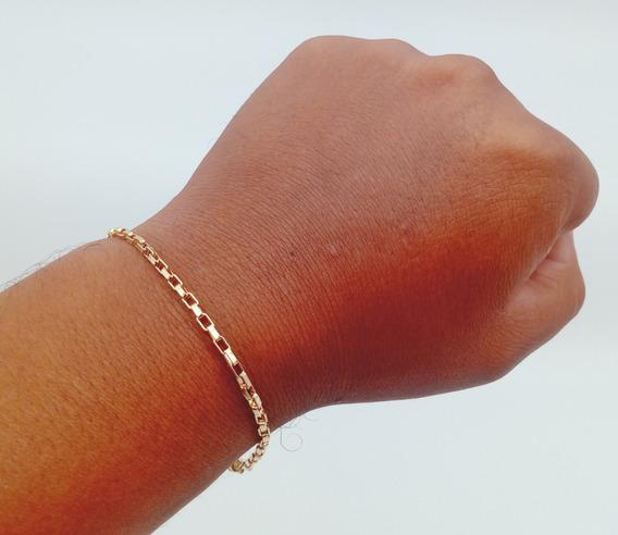 Bracelete Banhada Ouro 18k Garantia Veneziana Canhão 4mm 221