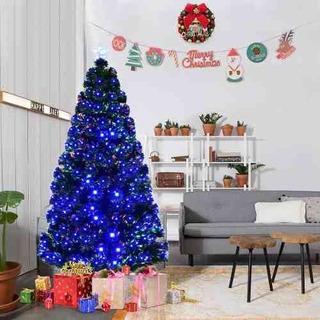 Árbol De Navidad Artificia Preiluminado Fibra Óptica 1.82cm