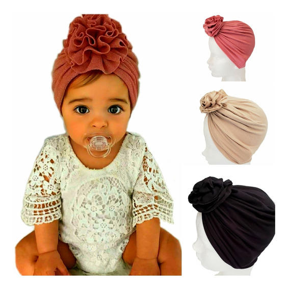 3 Gorritos Para Bebé Niña Turbante Headwrap Envio Gratis!