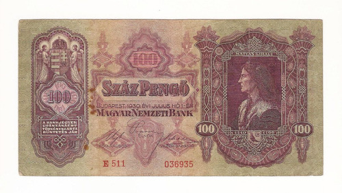 1930 Hermoso Billete 90 Hungria 100 Szaz Pengo Antiguo