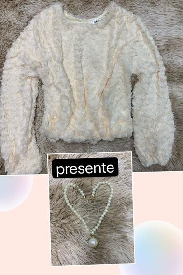 Blusa Feminino Frio De Pelinho Lançamento Inverno + Brinde