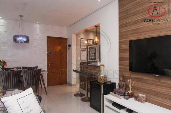 Apartamento Com 2 Dormitórios, 1 Suite, 2 Vagas, Lazer, À Venda, 78 M² Por R$ 690.000 - Pompéia - Santos/sp - Ap9940