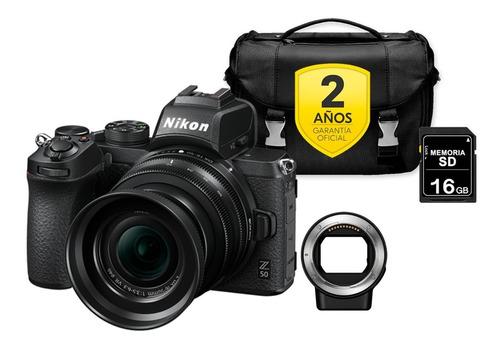Cámara Nikon Z50 Con Lente 16-50mm +  Sd 16 Gb + Maletín