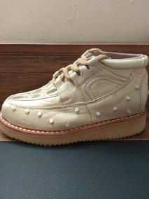 Zapato Vaquero Para Niño , Tipo Cocodrilo/avestruz Cremita.