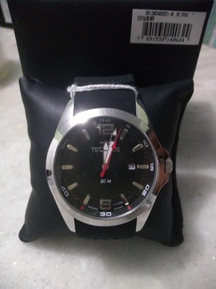 Relógio Masculino Technos 50mprata Com Pulseira De Silicone