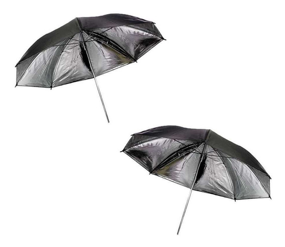 2x Sombrinhas Refletora Rebatedora Preta E Prata Para Fotos