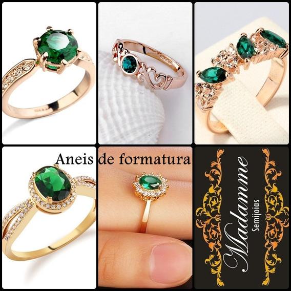 Anel De Formatura Pedra Verde Esmeralda - 18k