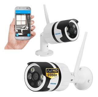 Camara Ip Exterior Contra Agua Escam Wifi 1080p Hd 128gb Seguridad Vigilancia Sensor Vision Nocturna