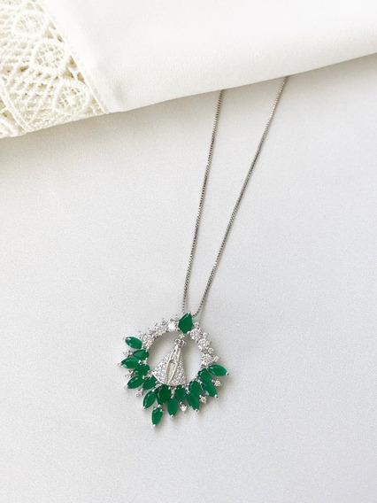 Colar Aparecida Esmeralda Com Cravação De Zircônias Folheado