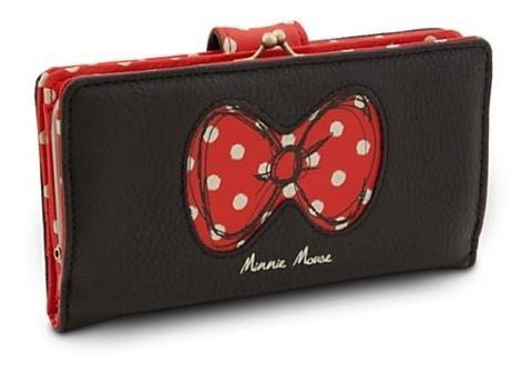Minnie Carteira Preta De Couro Disney 100% Park Disney