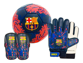Kit Futbol Barcelona: Pelota N° 5 + Guantes + Canilleras