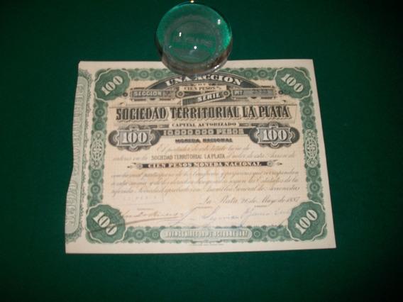 Sociedad Territorial Del Plata . Titulo 1 Accion . 1887 .