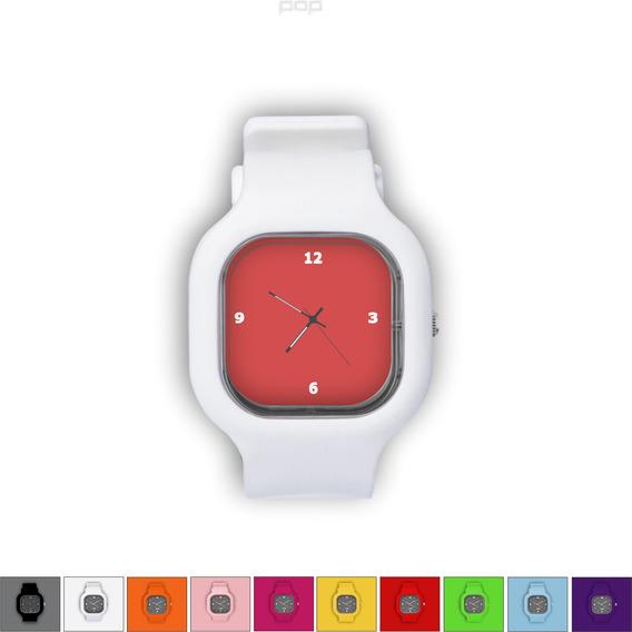 Relógio Pulseira Silicone Troca Cores Resistente Vermelho