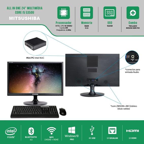 All In One 24 Multi Core I5 5350u 8g Ssd512g Windows Pro