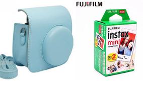 Bolsa Couro Sint - Câmera Instax Mini Azul + Filme 20 Fotos