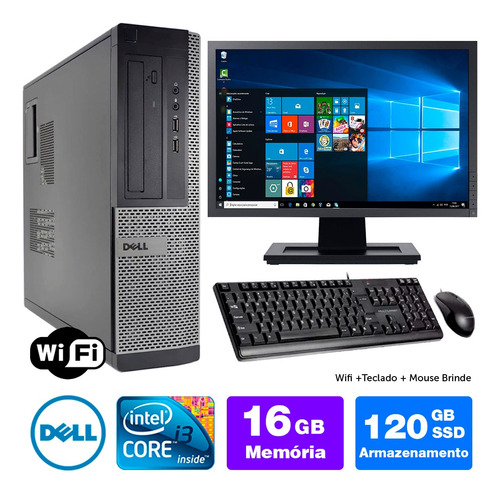 Desktop Barato Dell Optiplex Int I3 2g 16gb Ssd120 Mon19w