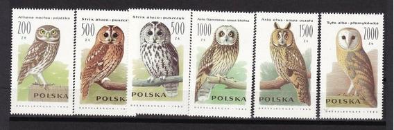 Polonia 1990 Aves, Lechuzas, Serie Completa 6v Mint
