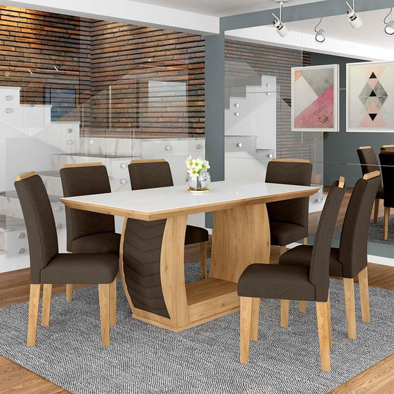 Conjunto Sala De Jantar 6 Cadeiras Líbano Cinamomo
