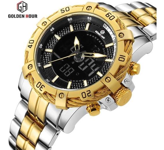 Relógio Masculino Militar Esportivo Golden Hour Pulseira Aço