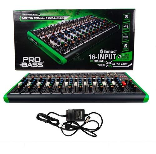 Mesa De Som Probass Pm-1624 Efeito Usb Bluetooth 12 Canais