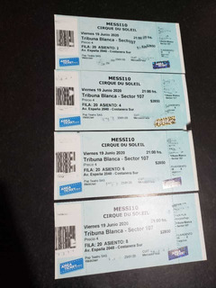 4 Entradas Messi 10 Cirque Du Soleil 19/06/20