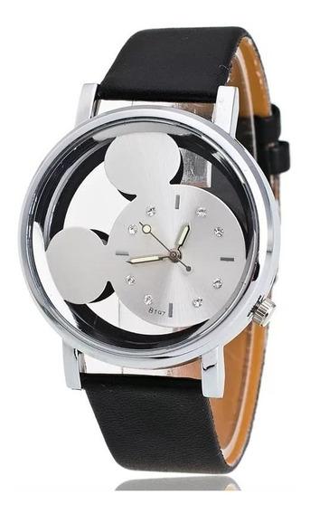 Relógio Feminino Mickey Mouse Preto E Branco