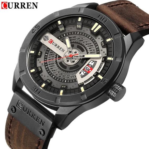 Relógio Masculino Militar Luxo De Couro Curren Original