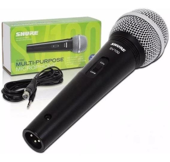 Microfone Shure Sv100 Com Fio Grade Prata