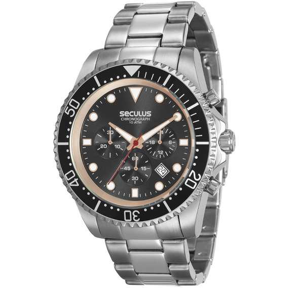 Relógio Masculino Seculus 13024g0svna1 Cronógrafo Prateado