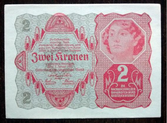Billete 2 Coronas Imperio Austrohúngaro Austria 74 1922 Aunc