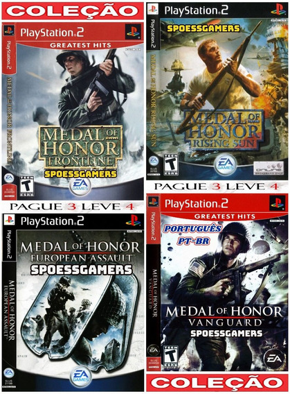 Medal Of Honor Ps2 Coleção (4 Dvds) Patch Leve 4 Pague 3 Me