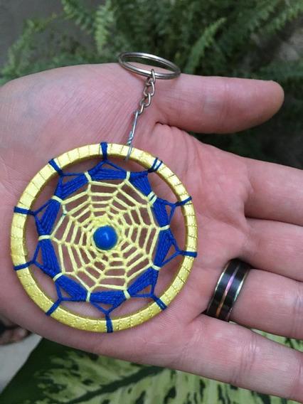 Chaveiro Filtro Dos Sonhos Croche Mandala Colorida Amarelo