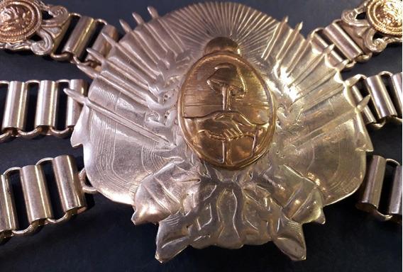 Rastra Platada Oro Patacon Escudo Federal 32 Cm Hebilla 10cm
