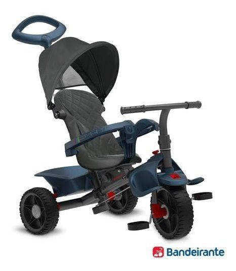 Triciclo Reclinável Função Passeio Pedal Azul Bandeirantes